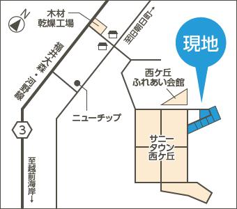 丹生郡越前町 旧織田町細野74-52-1 (西ケ丘団地) 地図01